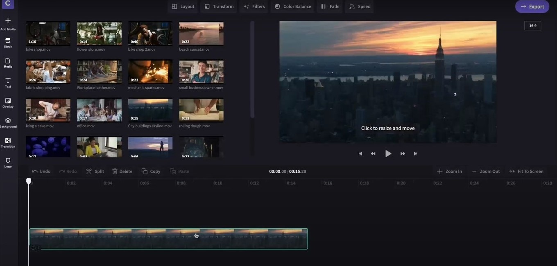 editor de vídeo fácil de usar clipchamp