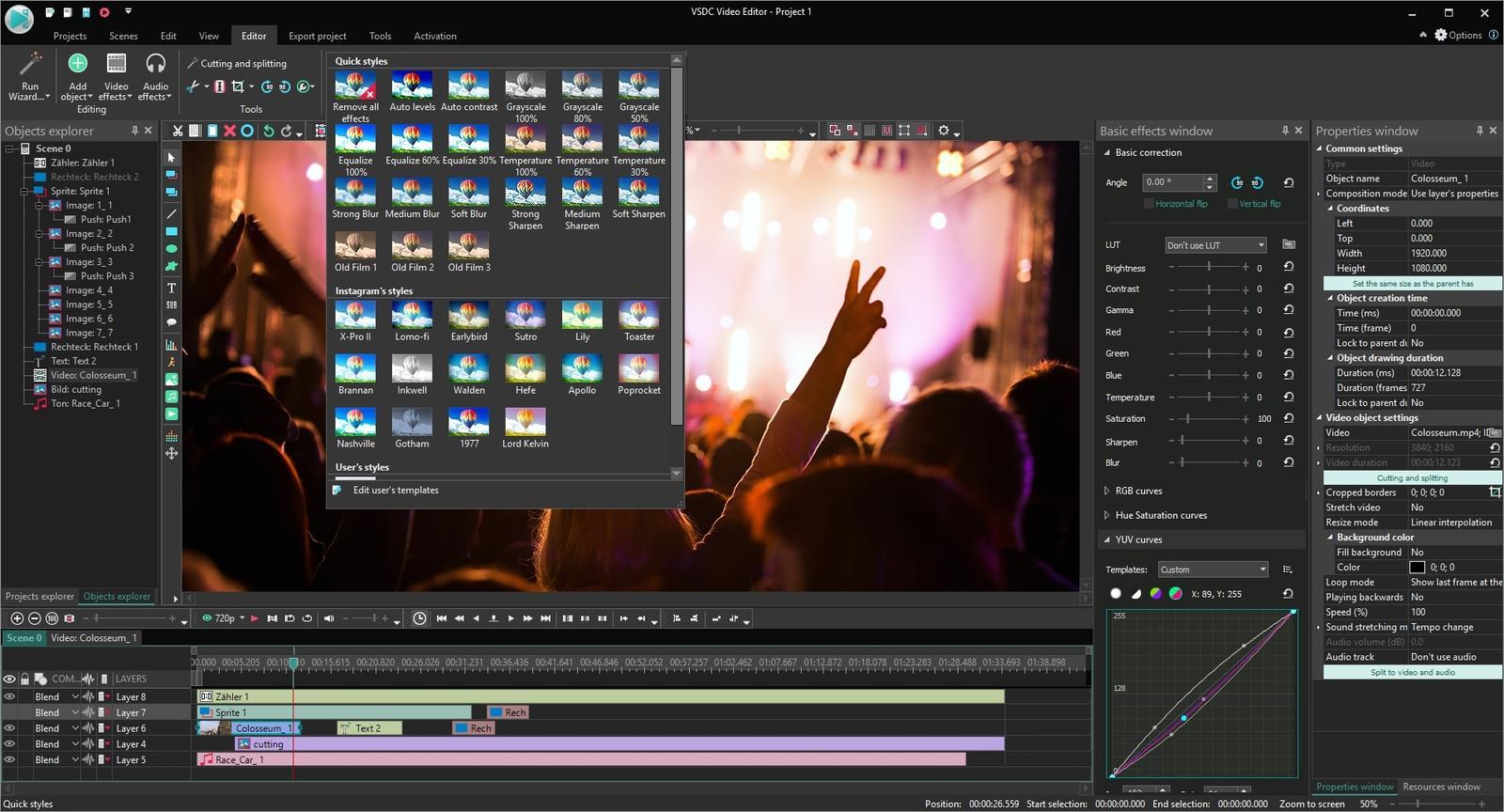 editor de vídeo fácil de usar vsdc free video